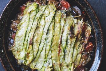 Aubergine, courgette and basil gratin