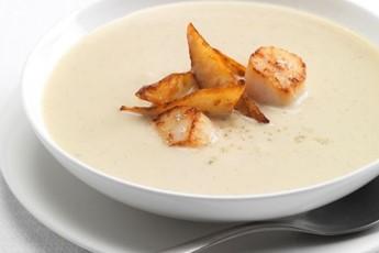 Jerusalem artichoke and vanilla soup with scallops recipe
