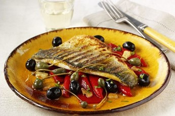 bass with olives onion and artichoke salt baked sea bass with tomato ...