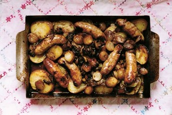 Hot sausage roast with a sticky sweet and sour shallot gravy