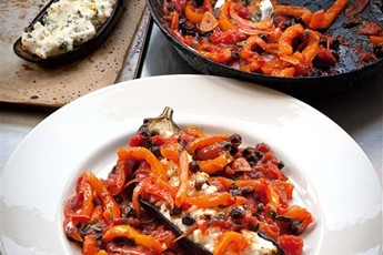 Aubergine with ricotta, Parmesan and orange pepper recipe