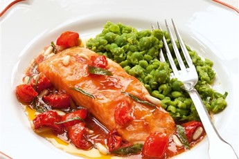 Salmon with mushy peas and sunblush ketchup recipe