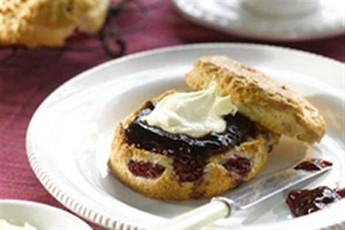 than good old fashioned scones and cream? The raspberries in the scone ...