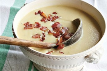 Celeriac, sprouts and bacon soup recipe