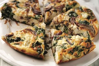 ... omelette option from Mark Sargeant, stuffed with red onion, spinach
