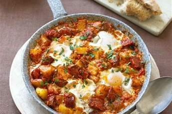 Huevos rancheros with chorizo recipe