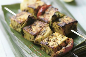 Griddled spicy paneer skewers recipe