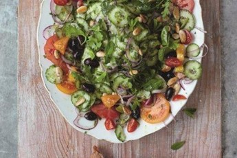 Jamie Oliver's modern Greek salad with feta parcels recipe
