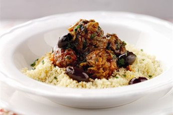 ... and cayenne pepper lamb meatballs, served with olives and couscous