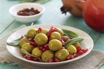 Olives marinated in pomegranate and sage recipe