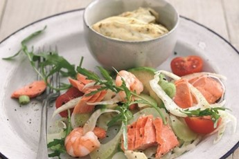 tomatoes and rocket. Sue recommends using wild Alaskan salmon