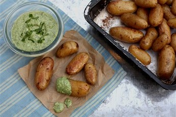 Roast new potatoes with a watercress and mint dip
