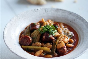 Winter stew of celery, chorizo and cannellini beans recipe