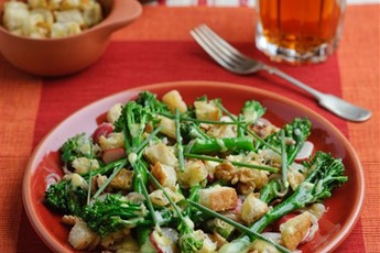 Tenderstem broccoli with shallot vinaigrette and croutons recipe
