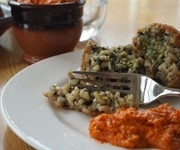 Arancini with rocket pesto and Romesco sauce recipe