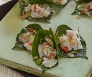 Cured fish on betel leaf with lemongrass and mint recipe