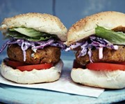 Mile-high chickpea burgers with Indian purple coleslaw recipe