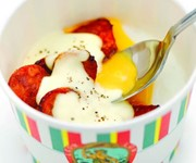 Posh poached eggs in a cup recipe