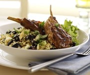 Griddled harissa lamb with blueberries recipe