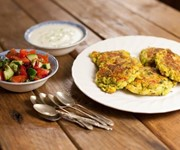 Indian spiced courgette chickpea fritters