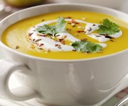 Spiced carrot, Bramley apple and lentil soup recipe