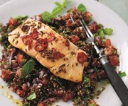 Kick-ass salmon on red quinoa tabbouleh recipe